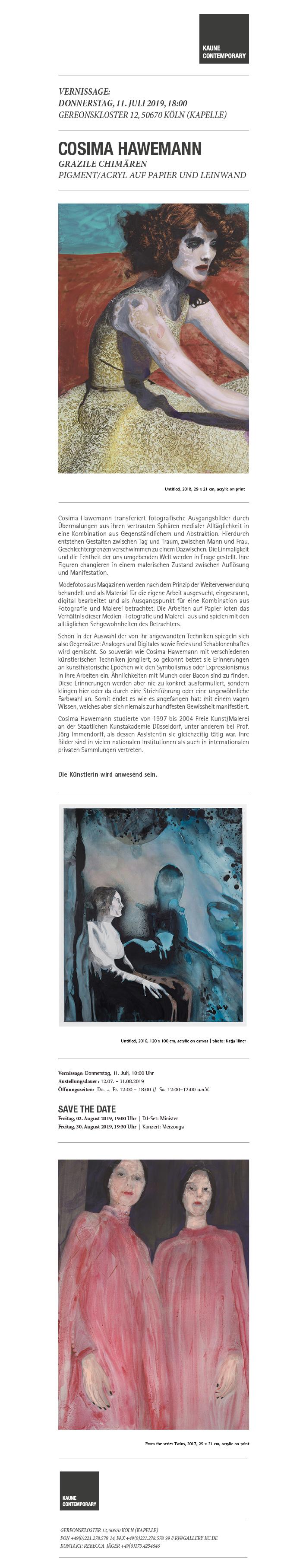 Cosima Hawemann - Grazile Chimären # Vernissage 11.07.2019, 18:00 Uhr # DJ-Set: Minister 02.08.2019, 19:00 Uhr # Konzert: Merzouga 30.08.2019, 19:30 Uhr ||| Gereonskloster 12 (Kapelle), 50670 Köln